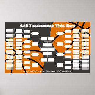 Poster Suporte do competiam do basquetebol - 64 equipes