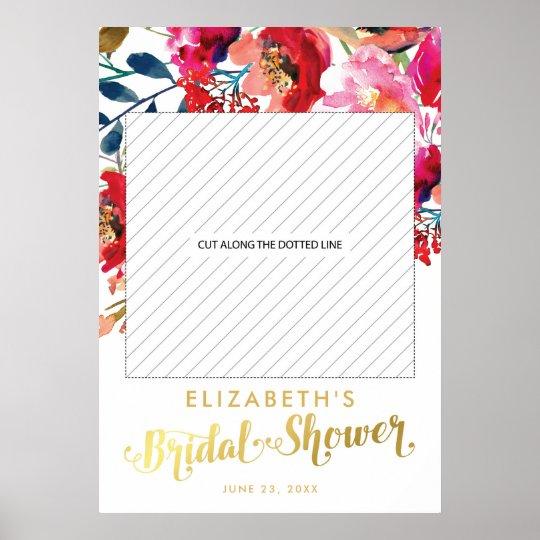 Poster Suporte floral elegante da foto do chá de panela