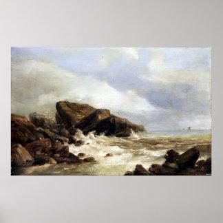 Pôster Surf de Andreas Achenbach em uma costa rochosa