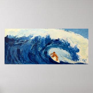 Poster Surfista que surfa trabalhos de arte azuis do