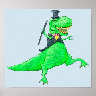 Pôster T-Rex no chapéu alto e nas caudas