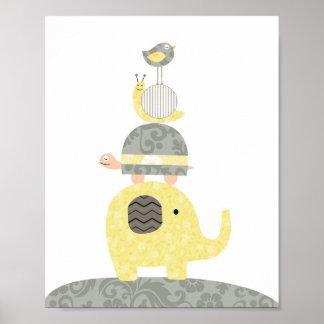 Pôster Tartaruga do pássaro de elefante da ilustração da