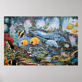 Poster Tartarugas coloridas submarinas/do oceano cena dos