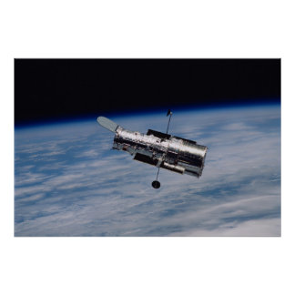 Poster Telescópio espacial e terra de Hubble