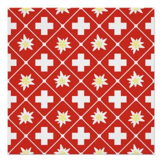 Pôster Teste padrão de Edelweiss da suiça