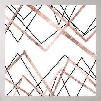 Poster Teste padrão linear branco do abstrato do