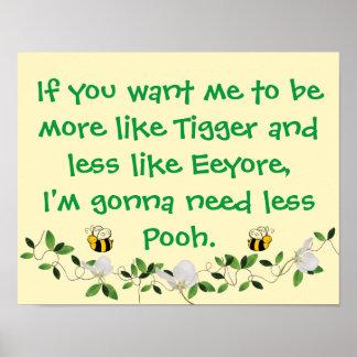 Pôster Tigger engraçado e Pooh sinal