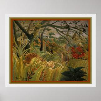"""Poster """"Tigre em uma tempestade tropical"""" por Henri"""