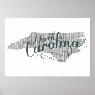 Pôster Tipografia do estado de North Carolina