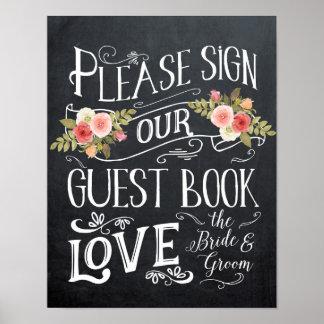 Pôster tipografia do sinal do casamento do guestbook