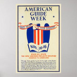 Pôster Tomada-Orgulho americano da semana do guia em seu