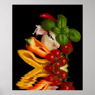 Poster Tomates de cereja vermelhos com manjericão e alho