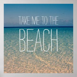 Poster Tome-me à areia do ouro do céu azul da água do mar