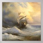 Poster tormentoso da pintura da fragata