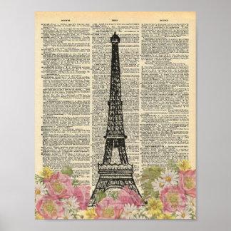Pôster Torre Eiffel romântica de Paris da arte do