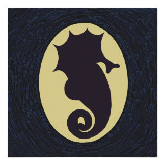 Poster Trabalhos de arte do cavalo marinho da silhueta
