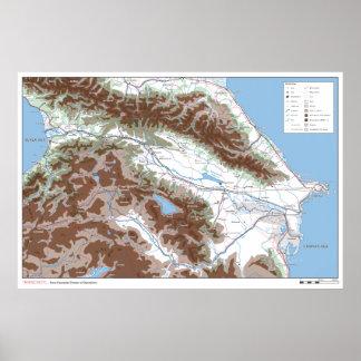 Pôster Transcauto - mapa militar Transporte-Caucasiano do
