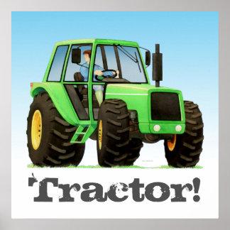 Poster Trator de fazenda verde feito sob encomenda dos