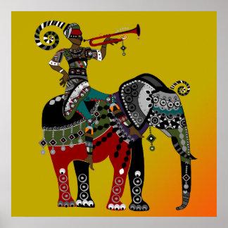 poster tribal africano do elefante da equitação do