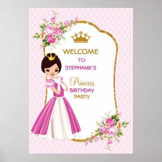 Poster triguenho bonito da princesa festa de