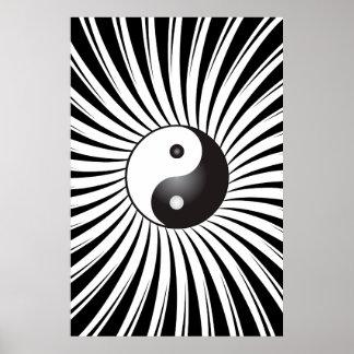 Poster Trippy: Símbolo de Yin Yang & design espira