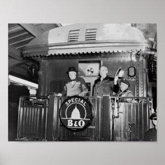 Poster Truman e Churchill suportam sobre de um trem
