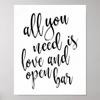 Poster Tudo que você precisa é amor e abre o sinal do bar