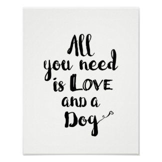 Poster Tudo que você precisa é amor e um cão