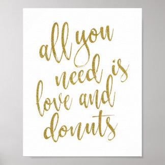 Poster Tudo que você precisa é sinal do ouro 8x10 do amor