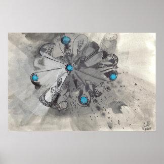 Pôster TURQUESA II - Desenho da tinta com azul