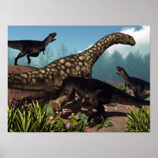 Poster Tyrannotitan que ataca um dinossauro do