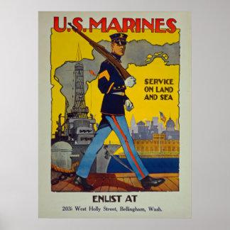 Pôster U.S. Os fuzileiros navais prestam serviços de