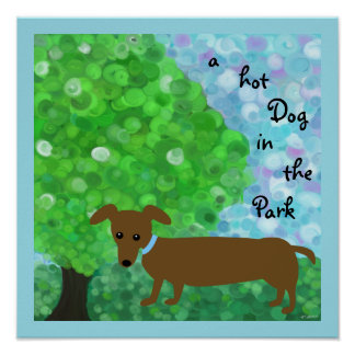 Pôster um cachorro quente no parque