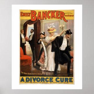 Poster Um cartaz do teatro do vintage da cura do divórcio
