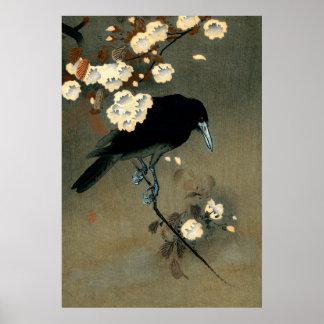 Pôster Um corvo e uma flor pelo vintage de Ohara Koson