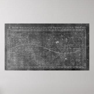 Pôster Um mapa de mercator dos céus estrelados
