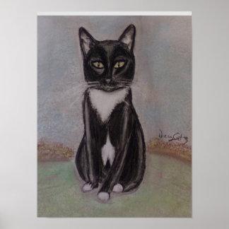 Poster Um retrato de um gato do smoking