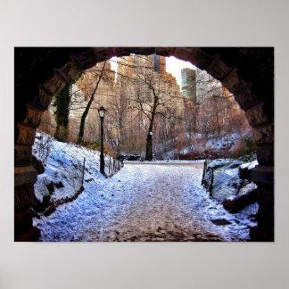 Poster Uma ponte do Central Park no inverno
