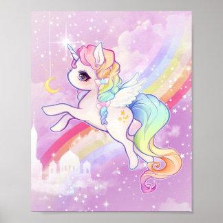 Poster Unicórnio pastel do kawaii bonito com arco-íris e