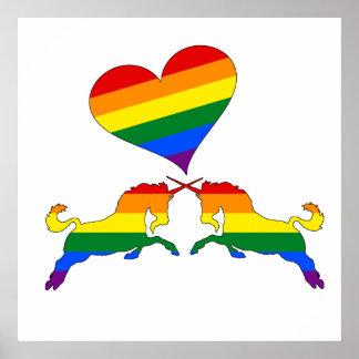 Poster Unicórnios do arco-íris