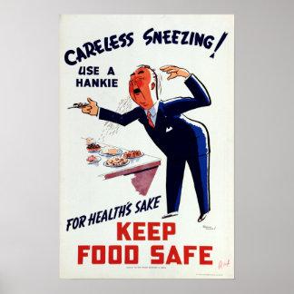Pôster Uso do vintage uma segurança Sneezing do alimento