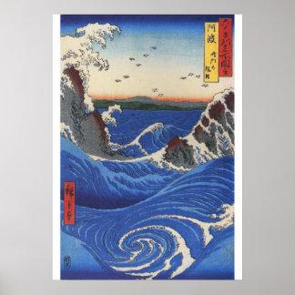 Pôster Utagawa Hiroshige, mar selvagem que quebra nas