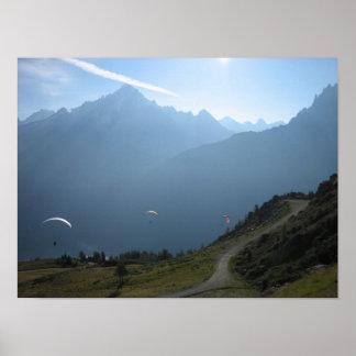 Poster: Vale France de Chamonix dos Paragliders Pôster