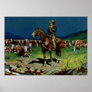 Pôster Vaqueiro do vintage, cultivando o rancheiro do