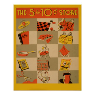 Poster Varejo colorido cinco e vintage de Wpa da loja de