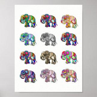 Poster Variações de elefantes decorativos coloridos