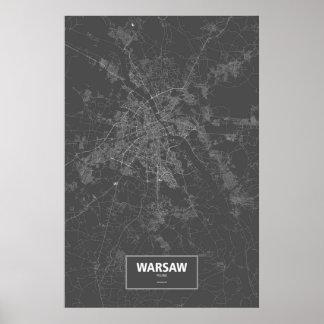 Pôster Varsóvia, Polônia (branco no preto)