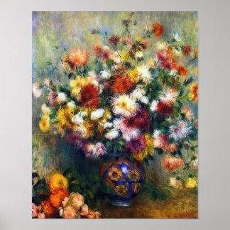 Poster Vaso de belas artes dos crisântemos por Renoir