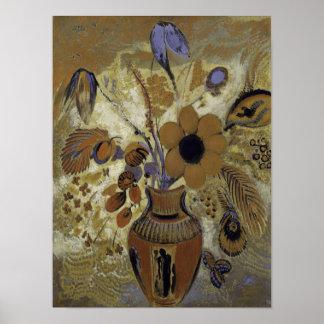 Poster Vaso de Etruscan com flores