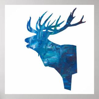Pôster veado principal dos cervos no azul